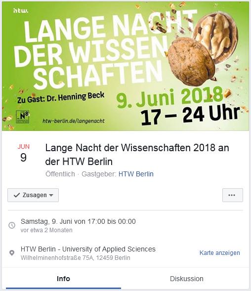 Beispiel für eine Veranstaltungsseite auf Facebook