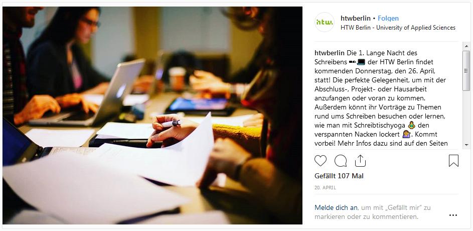 Instagram-Beitrag zur Langen Nacht des Schreibens