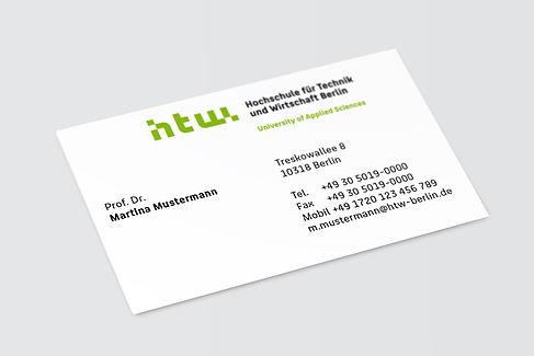Eine Visitenkarte der HTW Berlin © HTW Berlin/Dennis Meier-Schindler