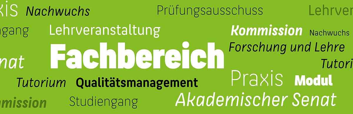 Verschiedene Begriffe des Hochschullebens © HTW Berlin/Dennis Meier-Schindler